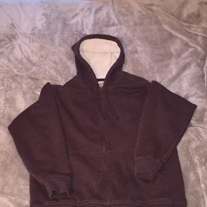 L.L Bean brown fuzzy interior jacket